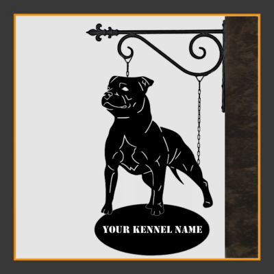 Staffordshire Bull Terrier Sign With Kennel Name