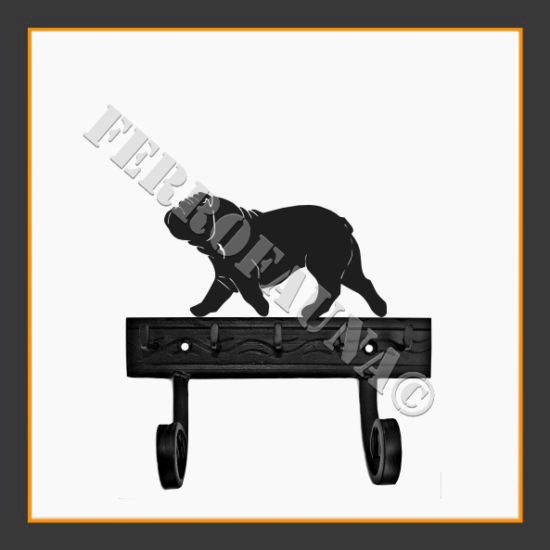 English Bulldog Key and Leash Holder