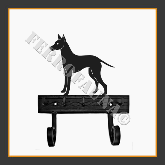 English Toy Terrier Key and Leash Holder