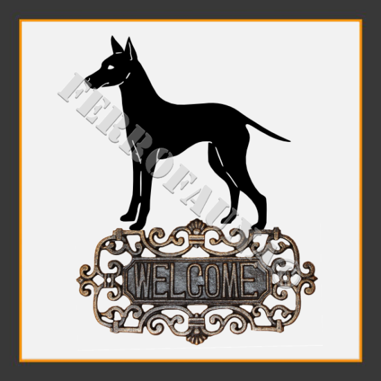 English Toy Terrier Welcome Sign