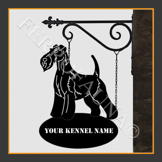Fox Terrier Wire  Sign With Kennel Name
