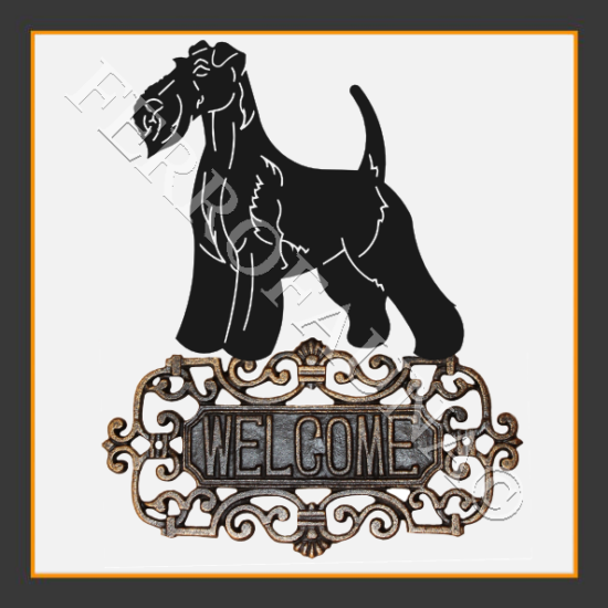 Fox Terrier Wire Welcome sign
