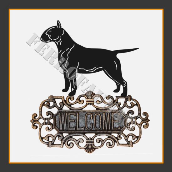 English Bull Terrier Welcome Sign