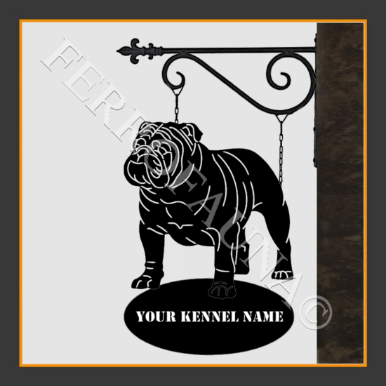 English Bulldog V.4 Sign With Kennel Name