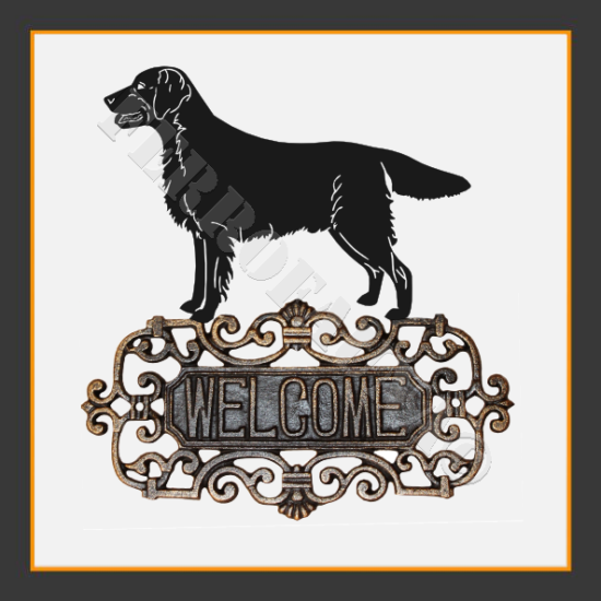 Flat Coated Retriever Welcome Sign