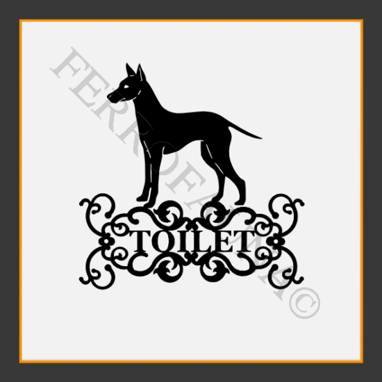English Toy Terrier Toilet  Sign